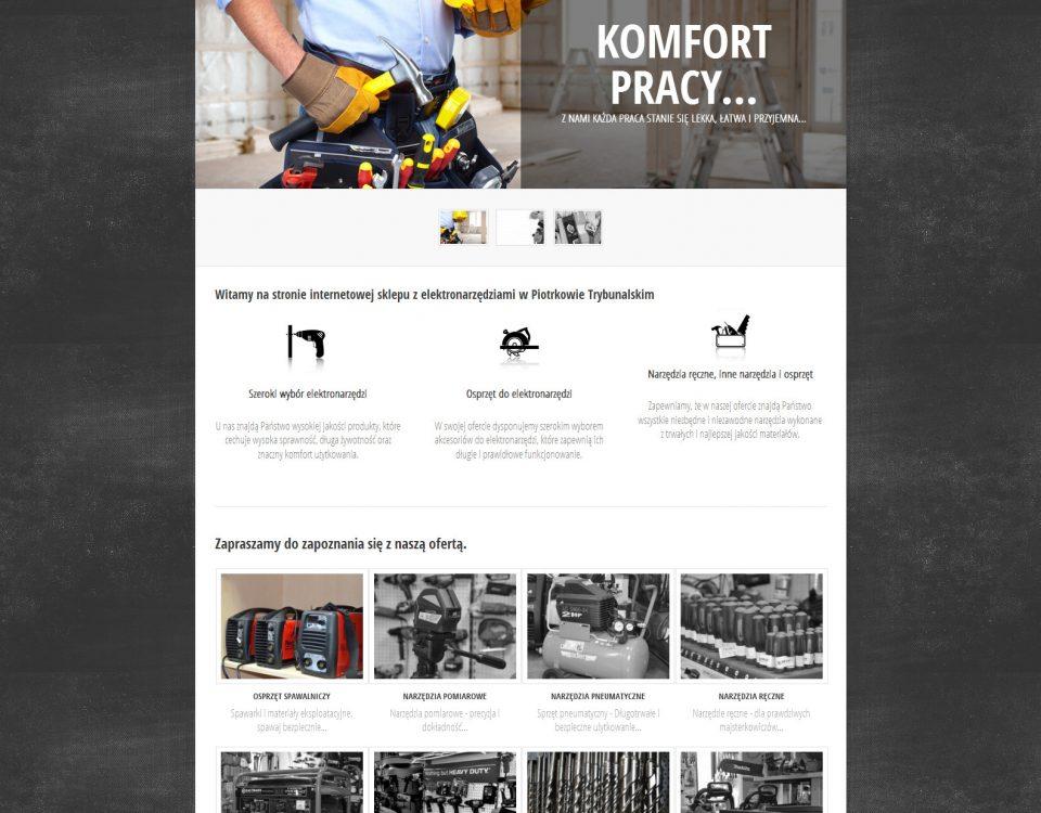 Strona WWW sklepu z narzędziami